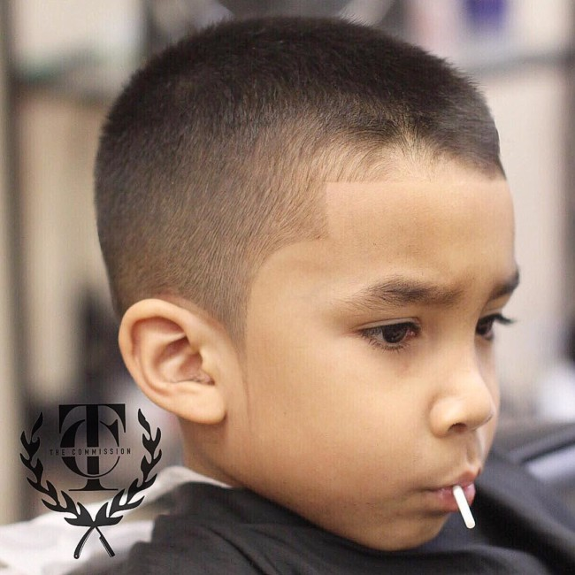Crew cut + Line up Hairstyle for black boy
