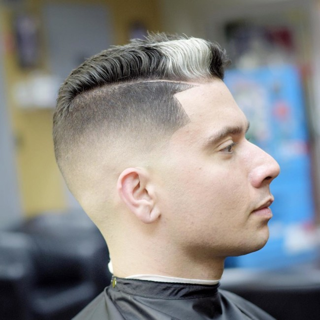 Low Side Part Pompadour + Mid Bald Fade - Men's Haircuts