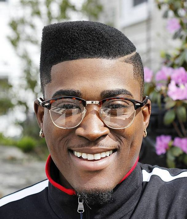 Curved Flat Top + Hard Part Black men haircuts