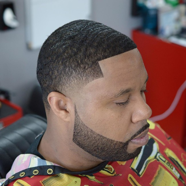 Black men haircuts - Waves + Taper Fade + Disconnected Beard