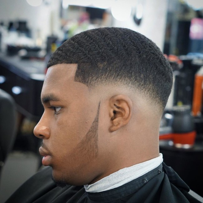 Waves + Skin fade + Disconnected beard Black men haircuts