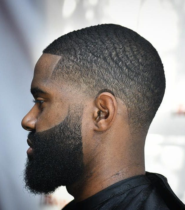 Waves + Taper Fade + Disconnected Beard Black men haircuts