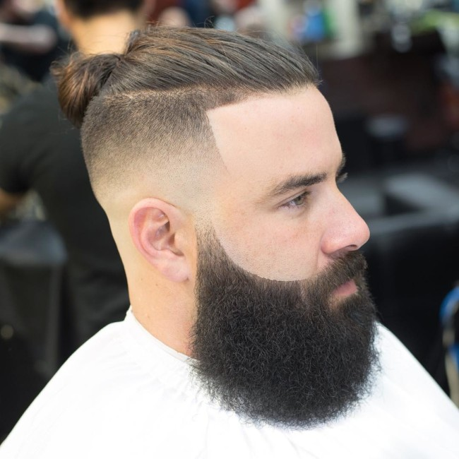 Top Knot + Mid Skin Fade - Men's Haircuts