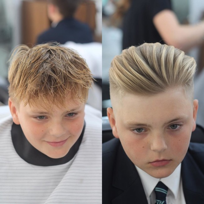 Brush up + Taper Fade - Hairstyle for boys