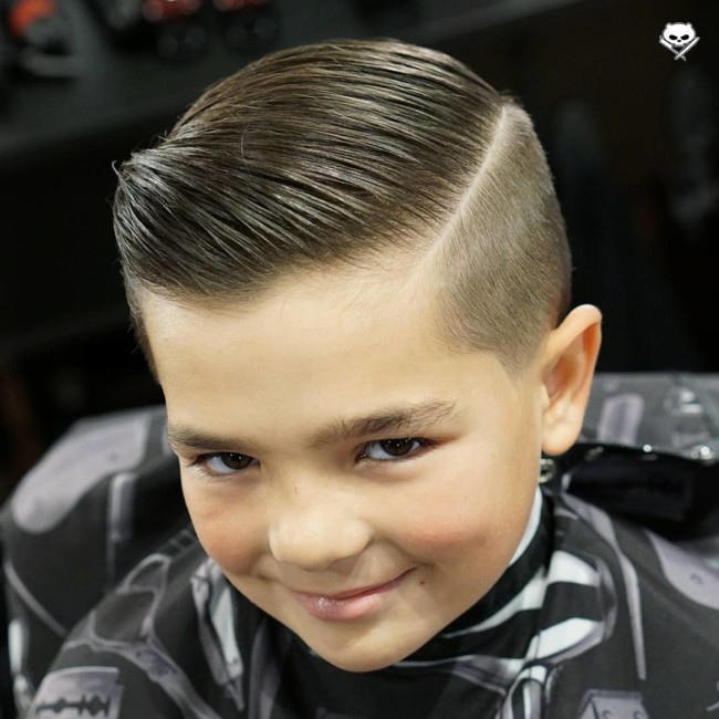 Comb Over + Side part + Taper Fade - Hairstyle for boy