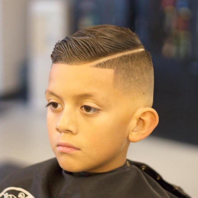 Comb Over + Hard part + Skin Fade Hairstyle for boys