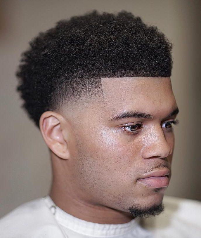 Short Afro + Temple Fade - Men's Haircuts