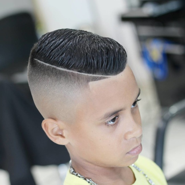 Comb over + Hard part Hairstyle for boys