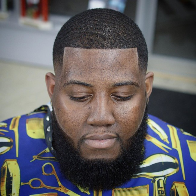 Waves + Line up + Beard Black men haircuts