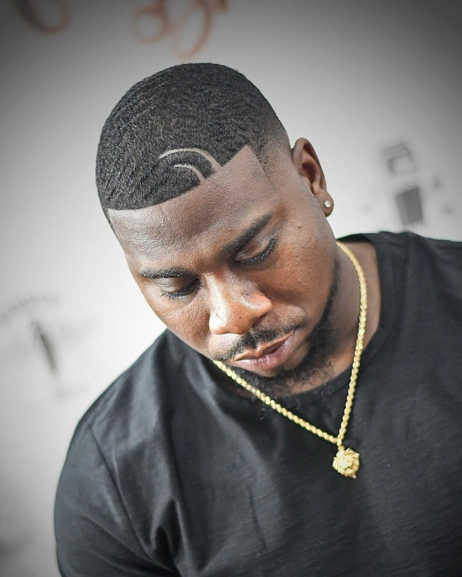 Waves + Hook parts + Fade Black mens haircuts