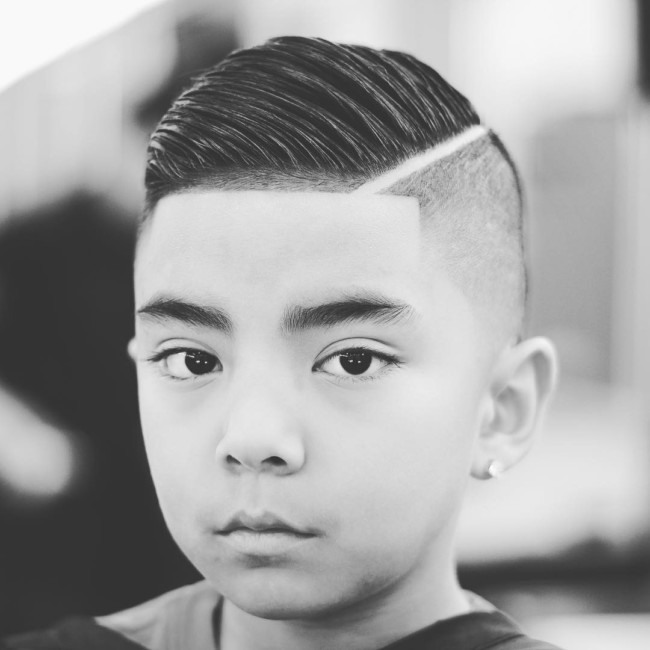 Comb Over + Hard part + Hairstyle for boys