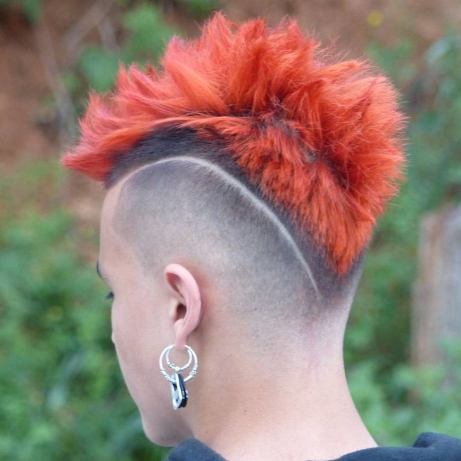 Textured Mohawk + Side Part + Color + V Fade - Men's Haircuts