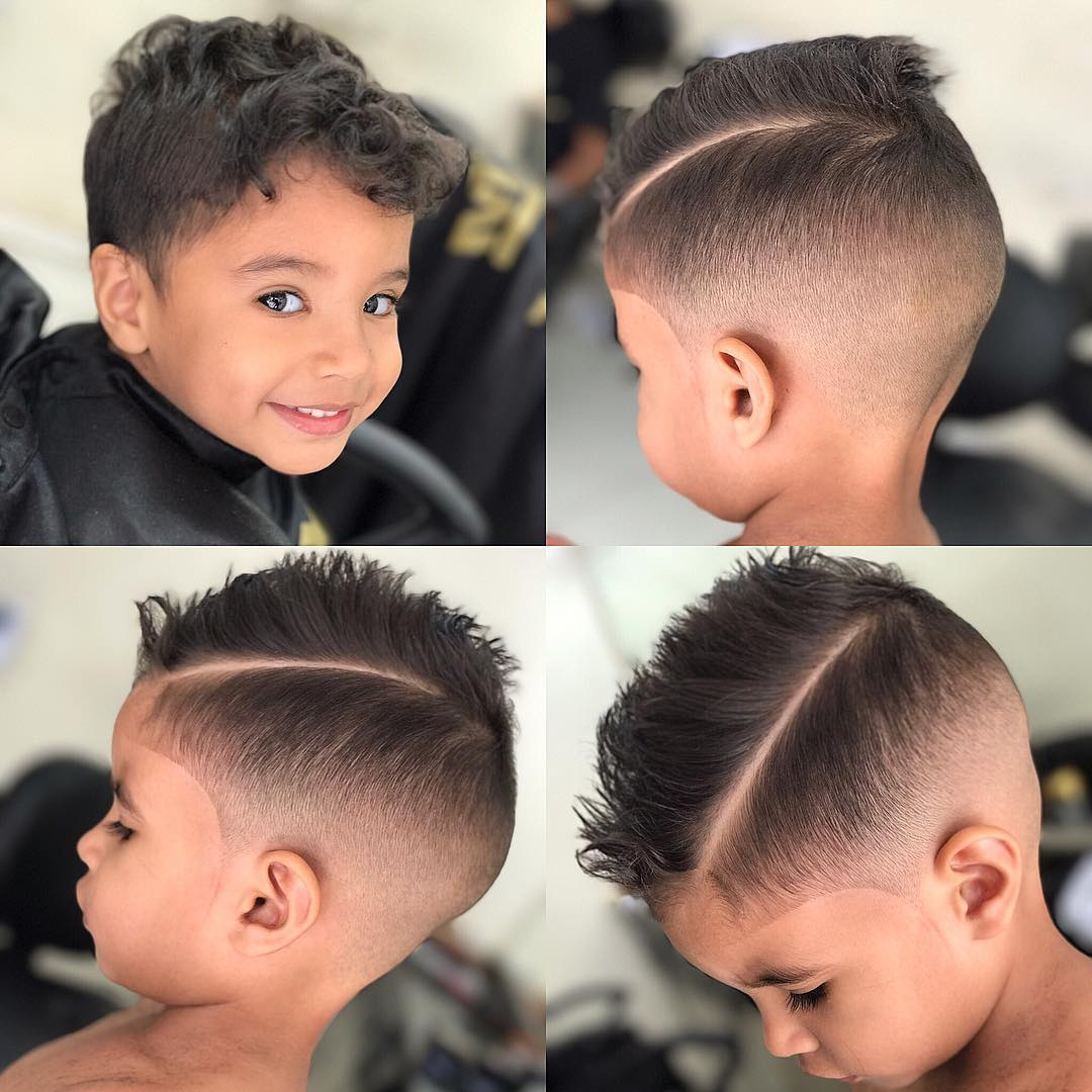 Side part+ Hard part Hairstyle for boys