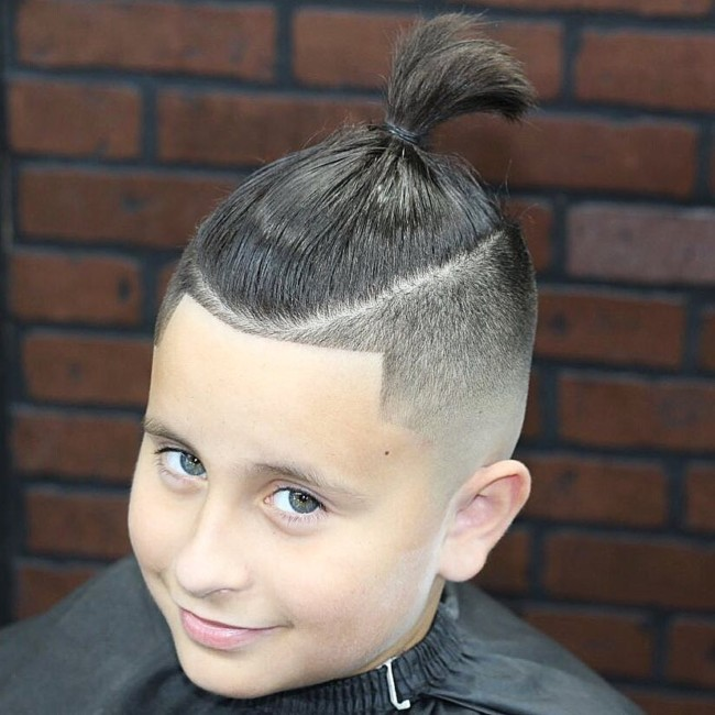 Top Knot + Skin Fade Hairstyle for boys