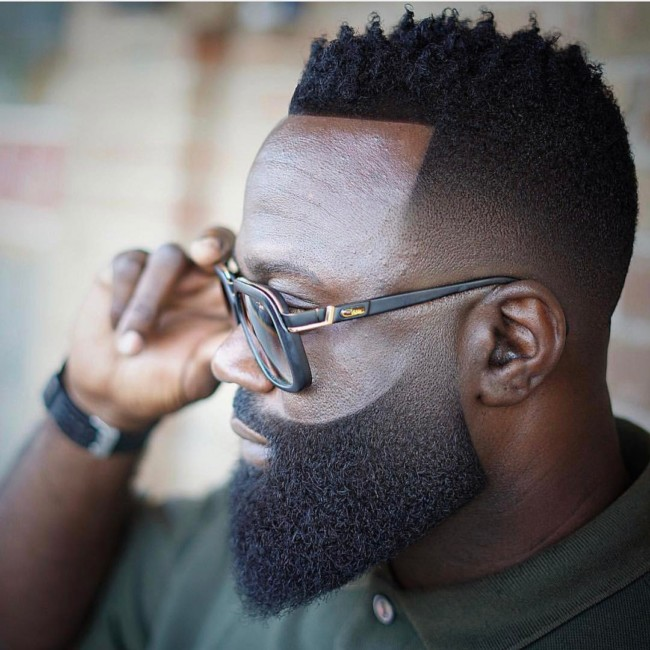Black men haircuts - Twists x Fade + Carved Beard