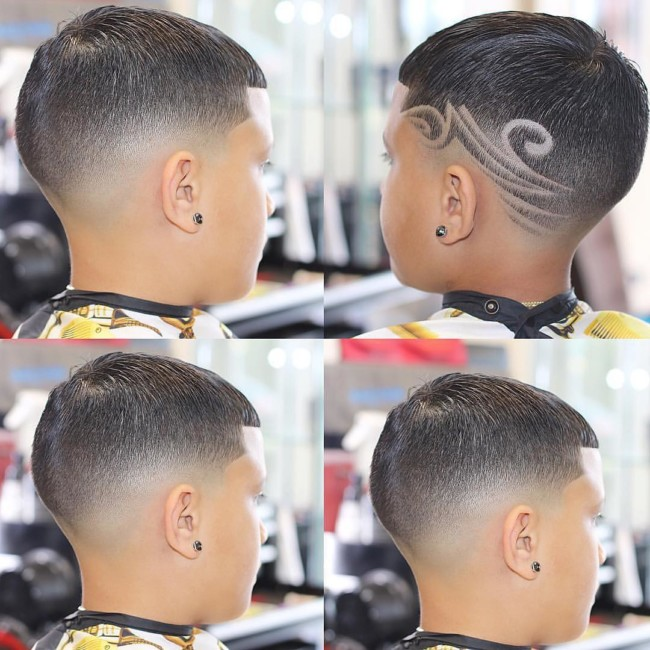 Crew cut + Drop Fade + Design Hairstyle for boys