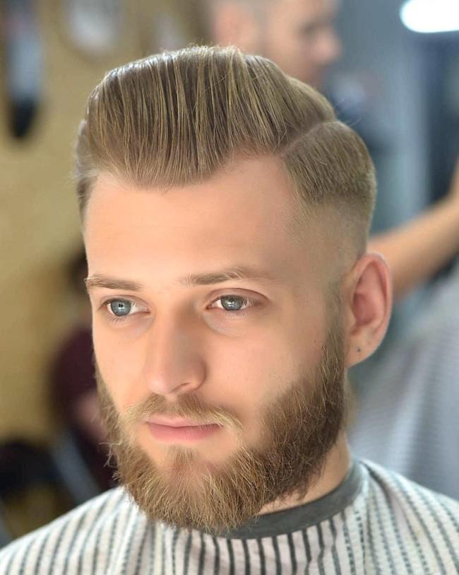 Side Part Pompadour + Mid Fade - Men's Haircuts
