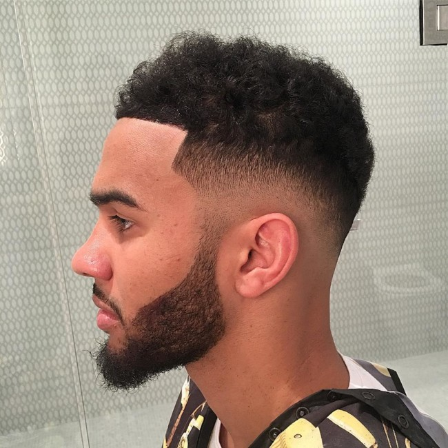 Natural curls + Mid skin fade - black men haircuts