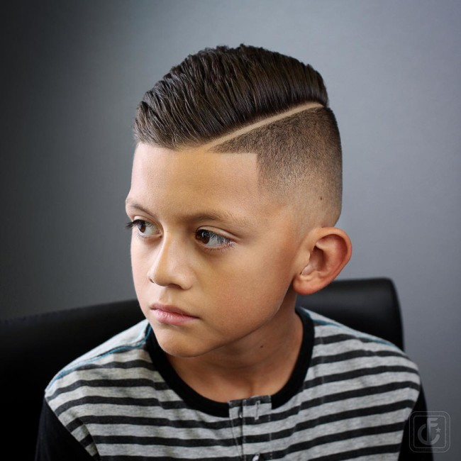 Comb Over Pompadour + Thick part + Taper Fade