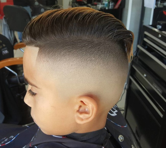 Long Comb over + Bald fade Hairstyle for boys
