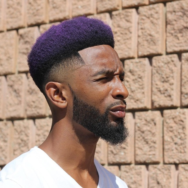 Afro + color + fade haircut for black men