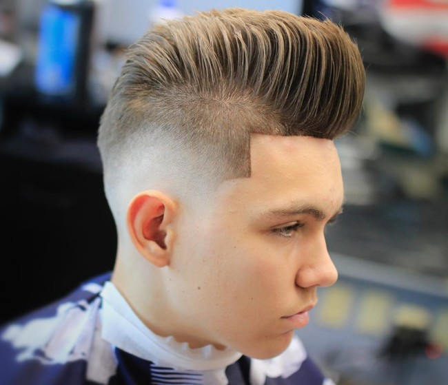 Pompadour + Skin fade Hairstyle for boys