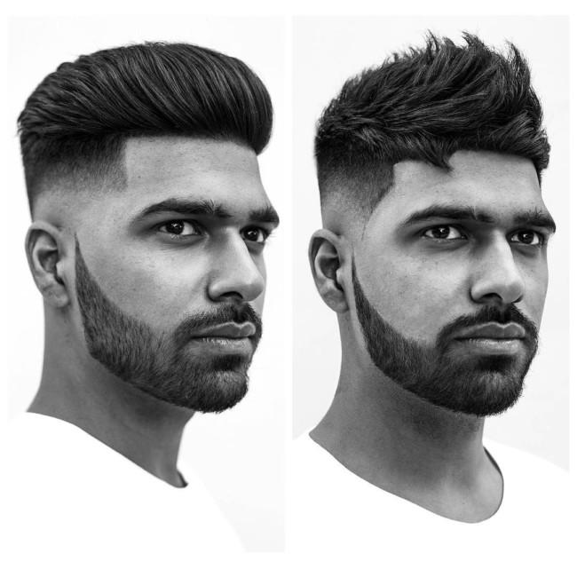 Pompadour VS Textured Quiff + Skin fade + Disconnected Beard - Men's Haircuts
