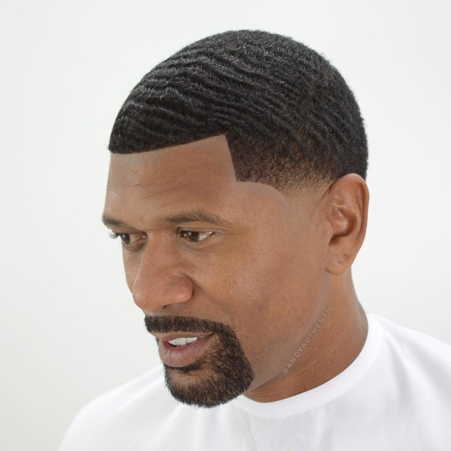 Waves + Temple fade - Black men haircuts