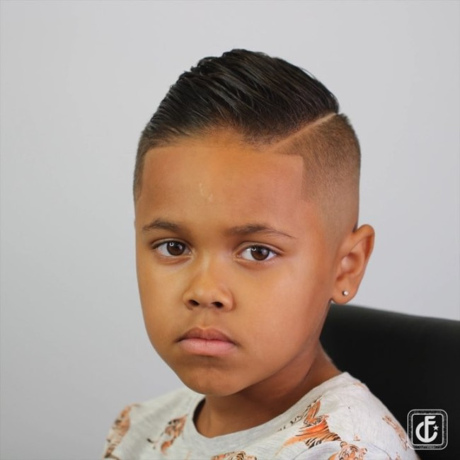 Comb Over + Side part + Skin Fade - Hairstyle for boys