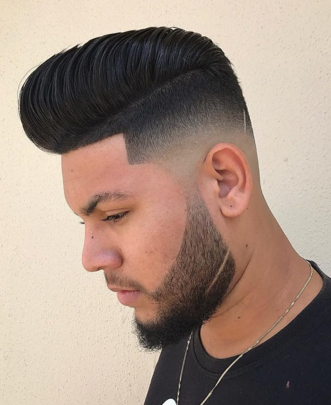 Pompadour + Low Skin Fade + Slash - Men's Haircuts