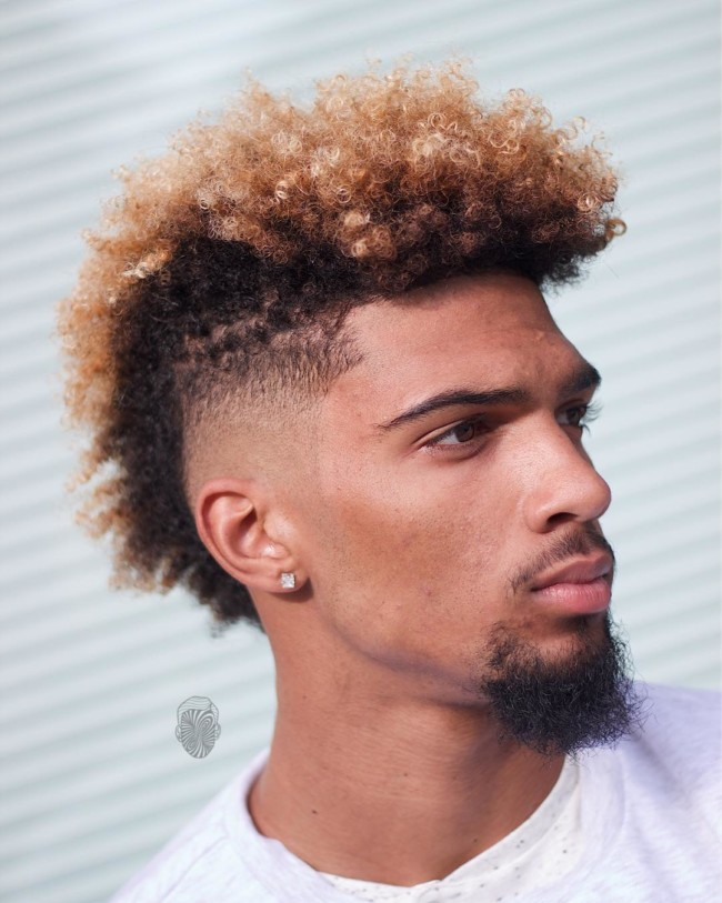 FroHawk Fade + Colored Curls - Men's Haircuts