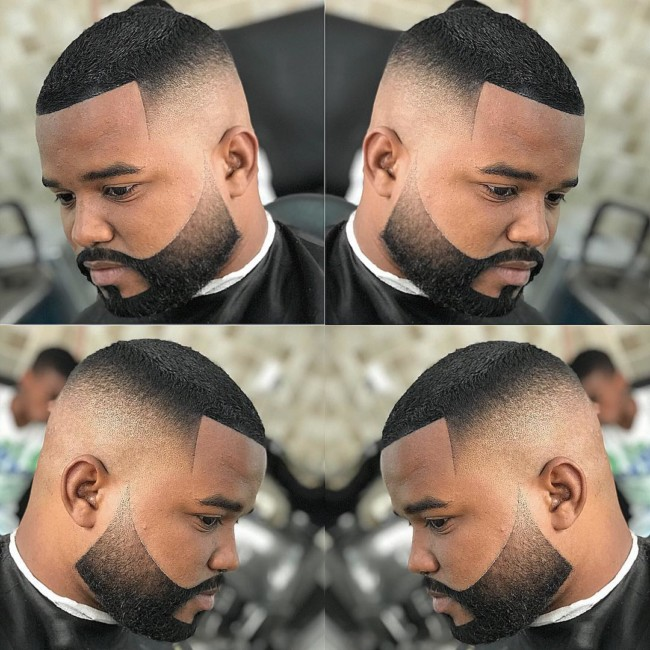 Crew cut + Carved Beard Black mens haircuts