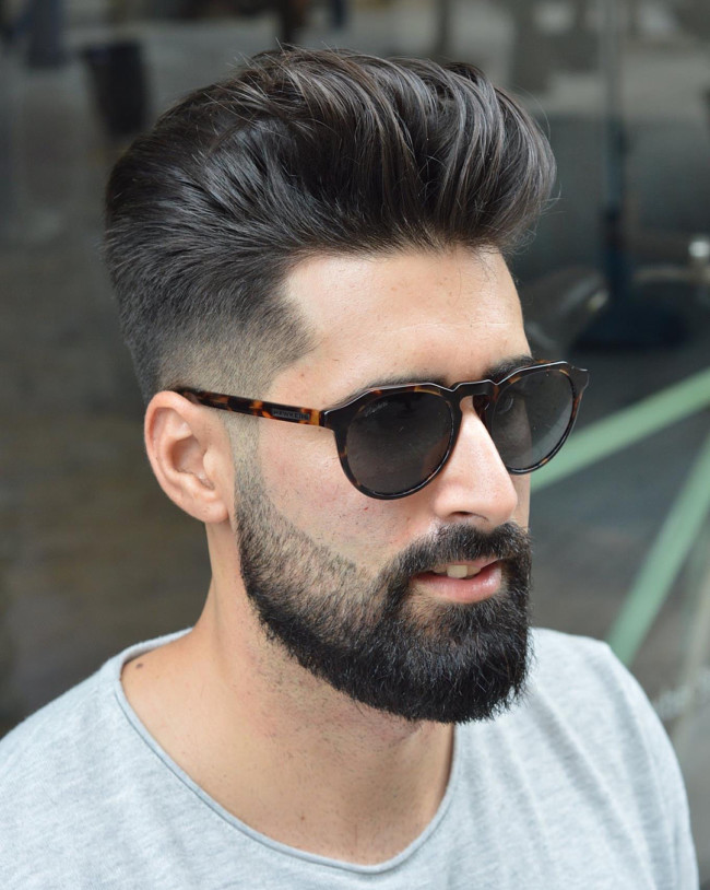 Brushed Back + Mid Fade - Men's Haircuts