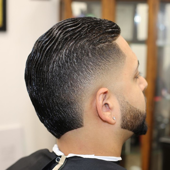 Slicked Back MoHawk Fade - Men's Haircuts