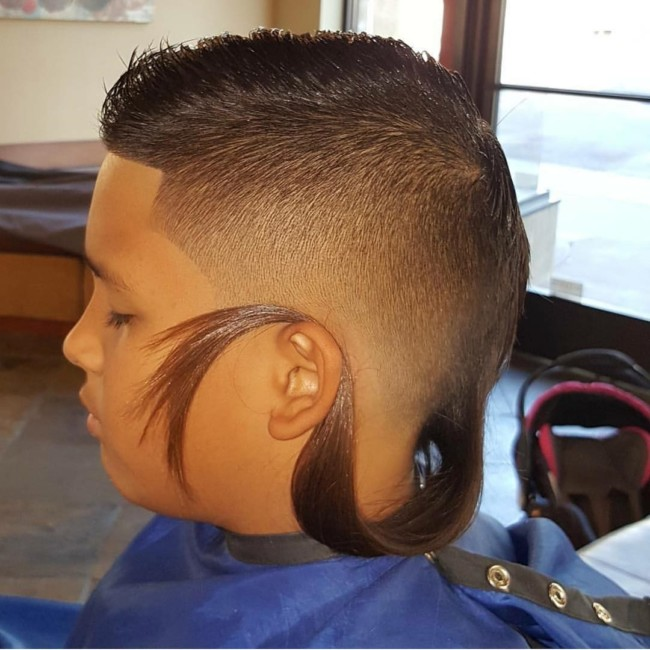 Crew cut + Fade + Tail Hairstyle for boys
