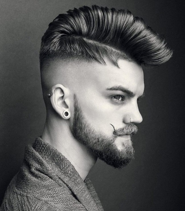 Side Part with Big Pomp + High Skin Fade - Men's Haircuts