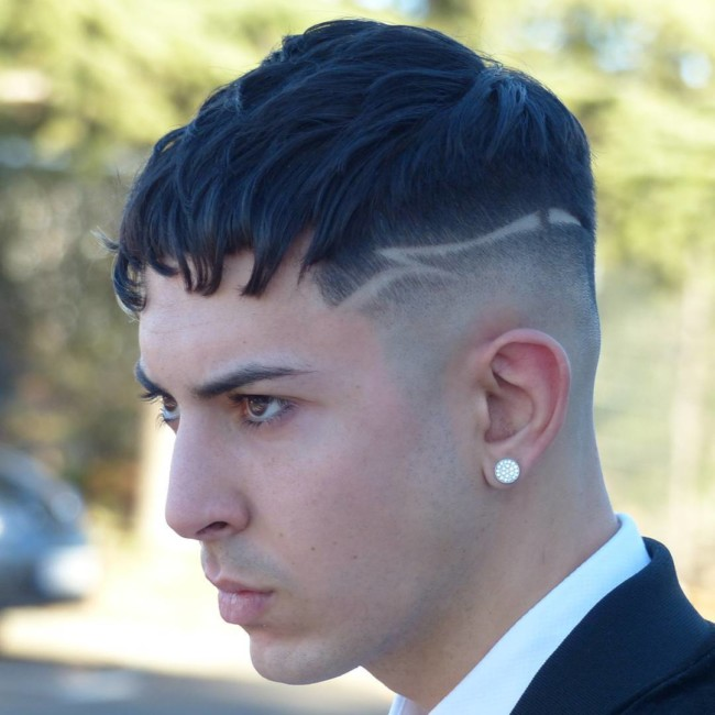 Caesar Cut + Fade with Designs - Men's Haircuts