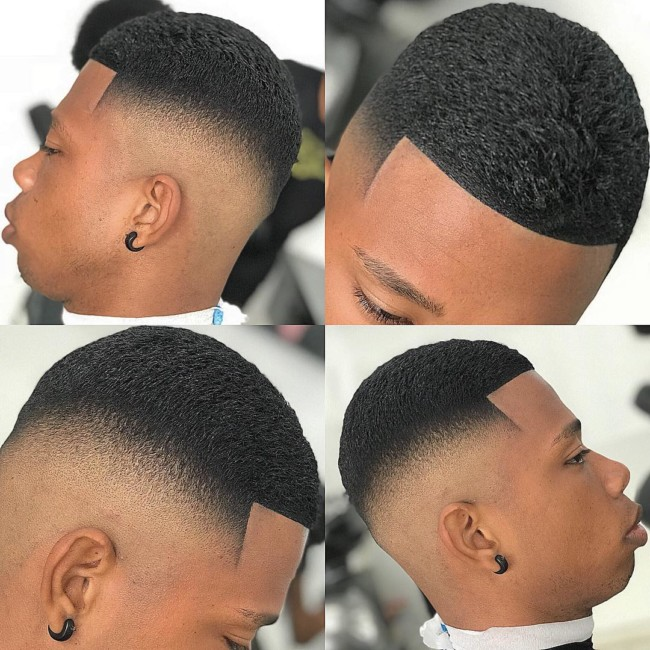 Crew cut + High Skin Fade Black mens haircuts