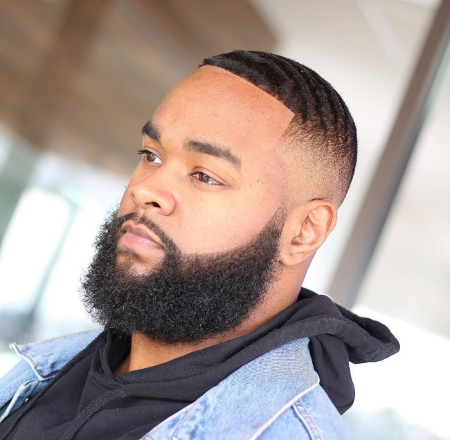 Waves x Fade + Full beard Black men haircuts