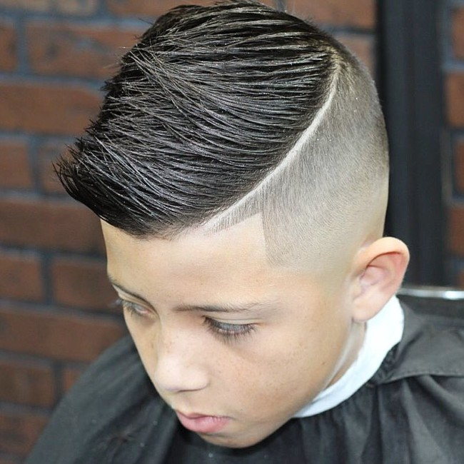 Spiky Comb Over + Hard part Hairstyle for boys