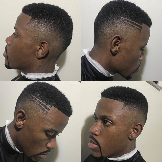 Crew cut + Drop Fade + Hard part Black mens haircuts