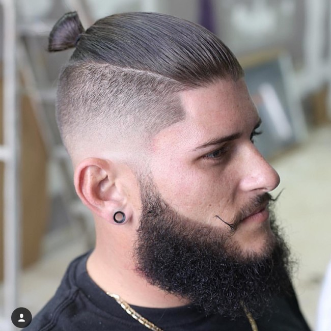 Top Knot + Low Skin Fade - Men's Haircuts