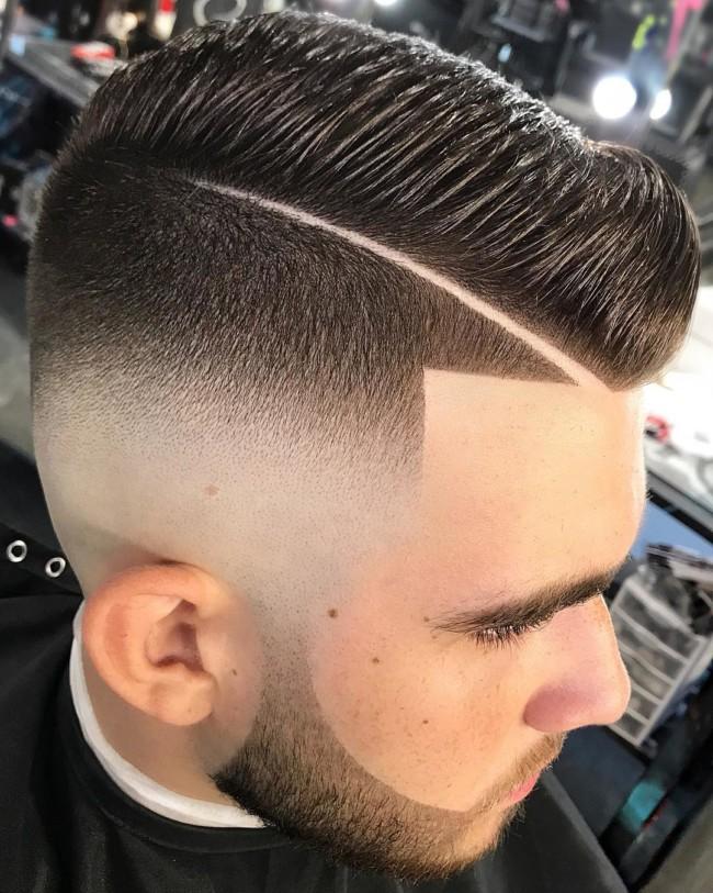 Side Part Pompadour + Skin Fade - Men's Haircuts