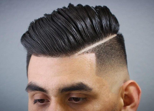 Comb Over Pompadour + Low Skin Fade - Men's Haircuts