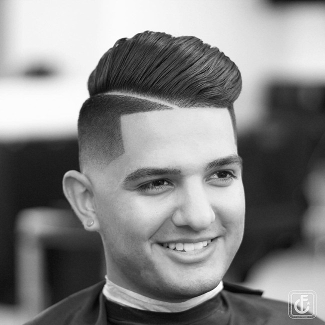 Comb Over Pompadour + Hard Part - Men's Haircuts