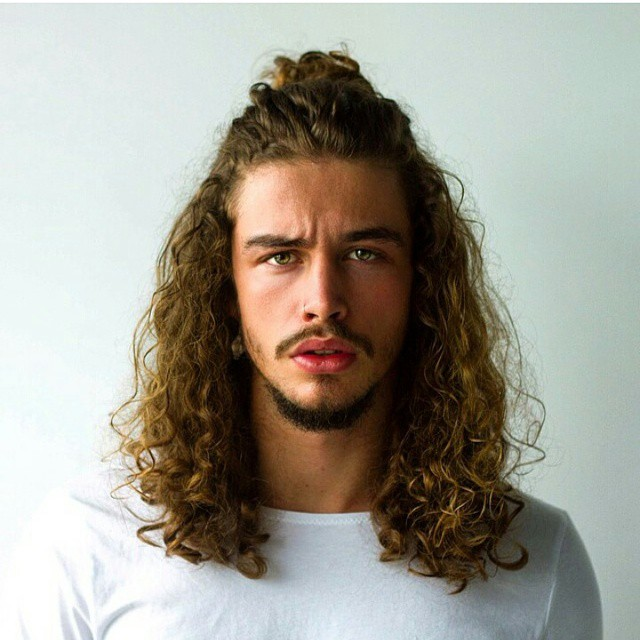 half up ponytail for curly long hair - Men's haircuts
