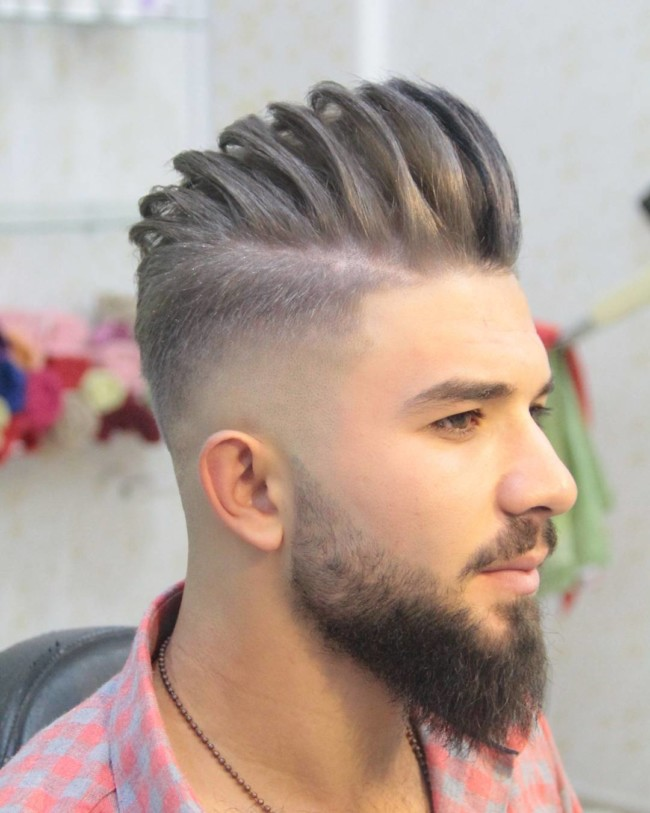 Textured Pompadour + Drop fade - Men's haircuts