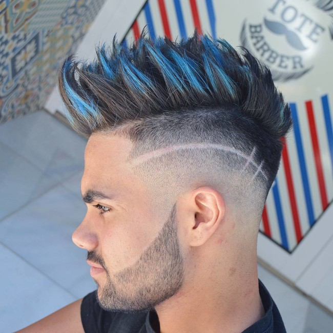Spiky Quiff + Design - Men's haircuts