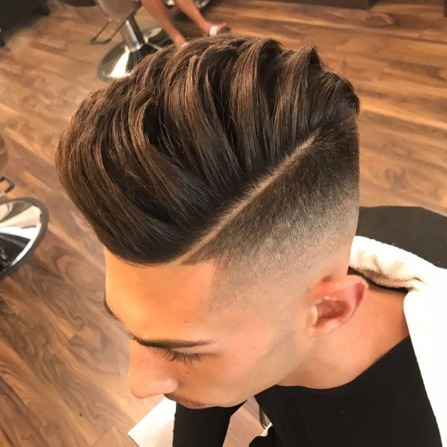 Textured Side Part Pompadour - men's haircuts