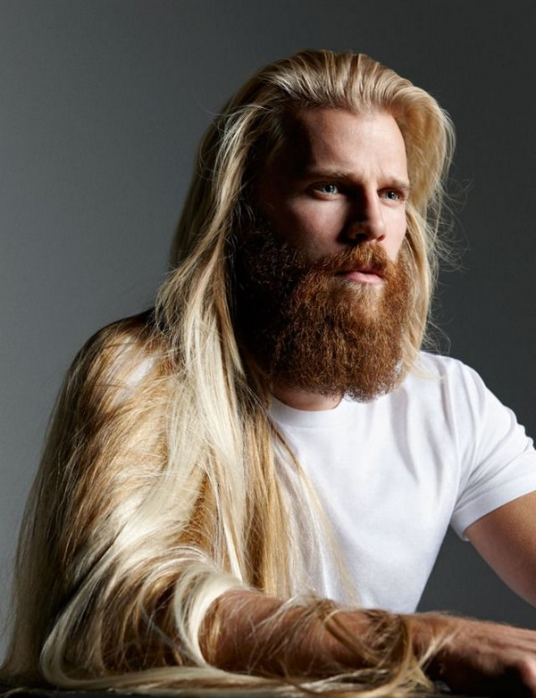 Long hair + Full beard - men's haircuts